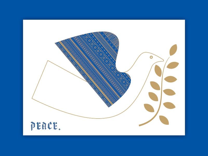 Rest In Peace holiday card ornamental detail blue bird holiday christmas illustration