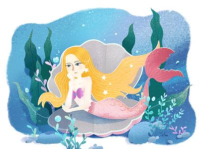 Miss Mermaid emotional pink, green, stone, bubble, blue, sea, plant, star, shell, mermaid, illustrations,