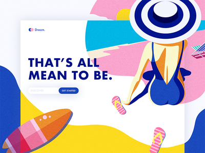 THAT'S ALL MEAN TO BE. summers dream, web, ui, hat, surfing, beach, slippers, sea, girl,figure,colors,illustration,