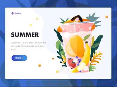 Summer Time bubble, leaves person summer cupcakes fruits web design design dream, illustrations, color, emotional blue,