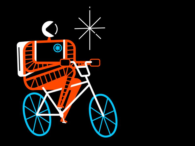 Astro Cyclist vector illustration cosmic stars bike cyclist astronaut