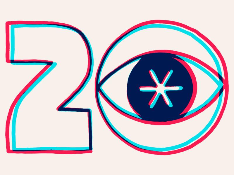 2020 Calendar stars eye 20 numerals typography new year 2020