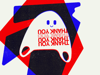 GHOSTED character illustration risograph overprint ghostbusters thanks thank you plastic bag ghost