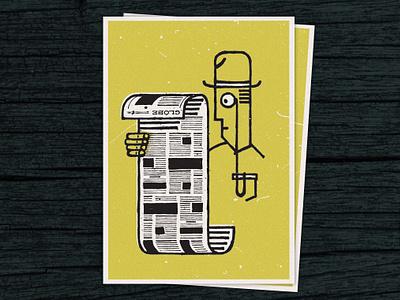 Newspaper Guy postcard illustration bowler hat monocle newspaper reading literacy screenprint hooked on phonics silk screen