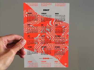 2017 Calendar weird typography silkscreen neon fluorescent calendar 2017