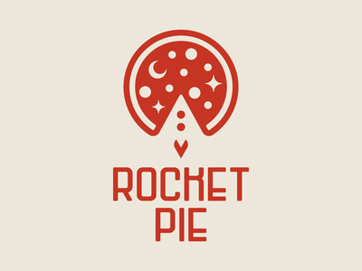 Rocket Pie – 02 moon stars pie pizza rocket launch logo space rocket