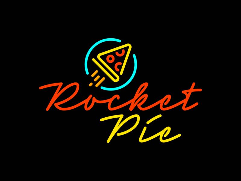 Rocket Pie – 03 logo neon sign neon pizza pie rocket