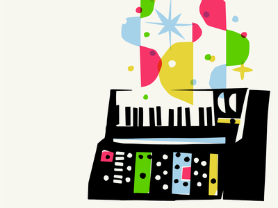 Grandmother illustration cut paper overprint colour music synth synthesizer grandmother moog