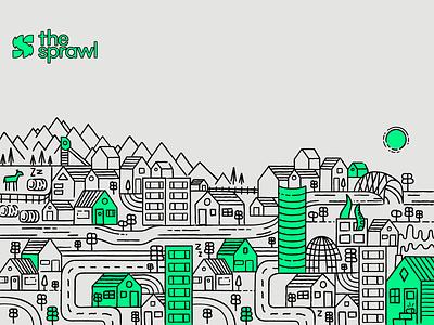 Sprawl City cityscape the sprawl calgary city illustration canada