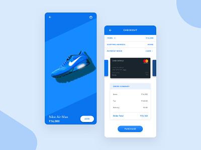 Nike - Checkout Design shoes sketch dailyui 002 dailyui checkout shoe blue nike gradient ui app ux ui design