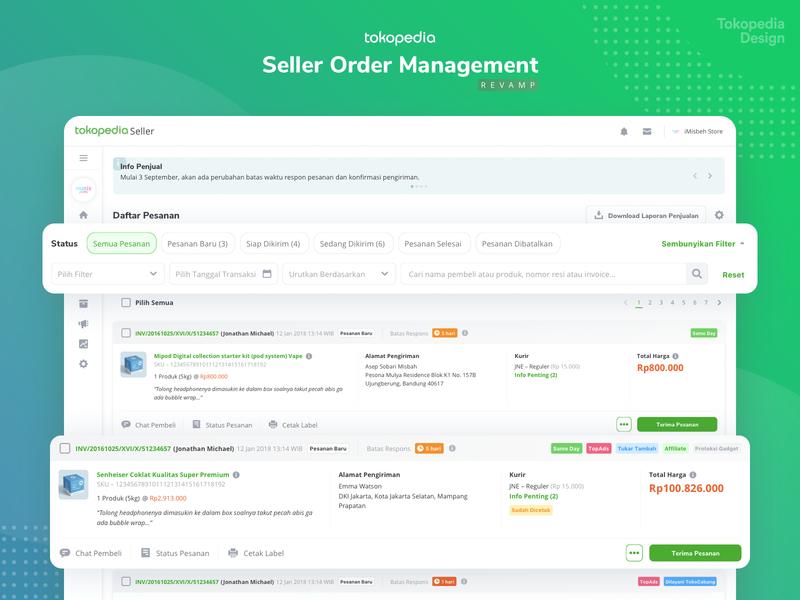 Tokopedia Seller Order Management [Revamp] revamp desktop gradient green order management dashboard order tokopedia