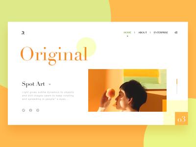 Light and dot art webpage typesetting art color
