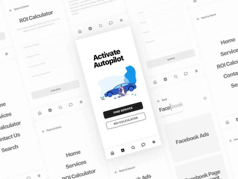 Clean Wireframe for Marketing Firm App business prototyping prototype marketing app marketing site marketing agency marketing firm