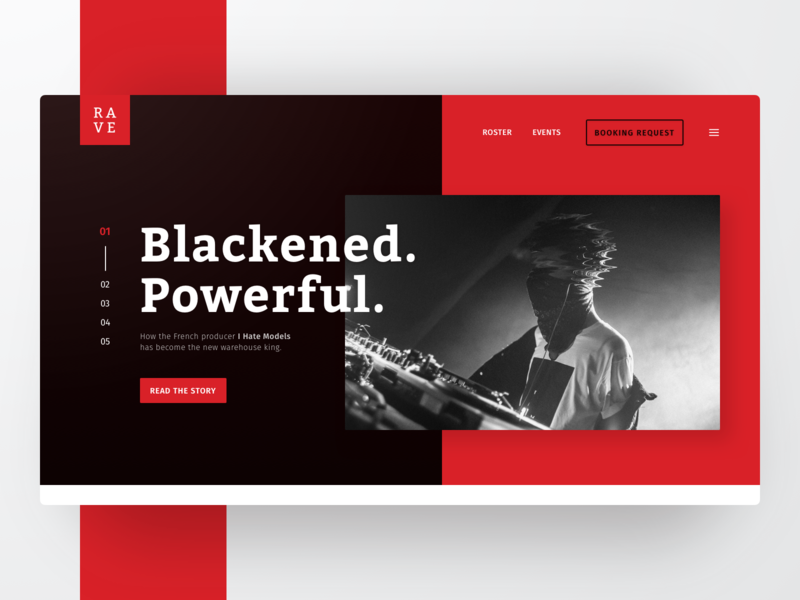 Rave - Landing page concept for an artist booking agency. blog bicolor agency booking rave clean design branding landing page webdesign user interface ui minimal