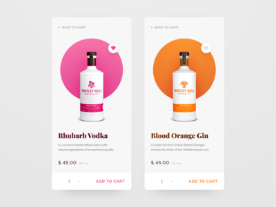 Product page for craft distillery