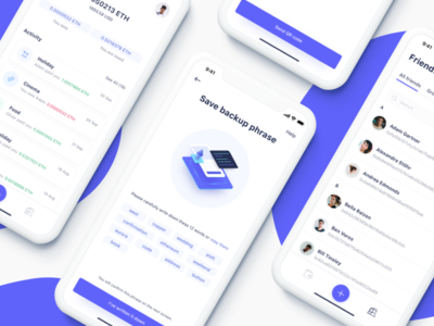 Expense sharing app for blockchain ethworks seed phrase interface ux ui app crypto currency friends backup wallet iphone x mobile blockchain ethereum