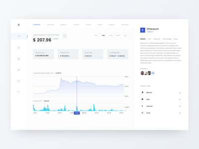 ⚡️Crypto compare - dashboard ⚡️ ethworks ui ux design ux ui blockchain cryptocurrency crypto currency graph dashboard ui desktop technology blockchain crypto dashboard