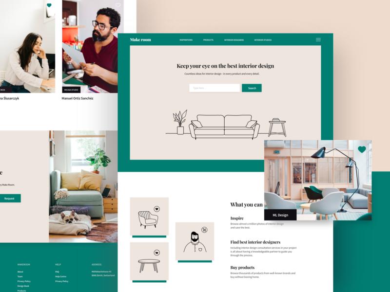 Makeroom house design house home typography illustration ui  ux design ux ui landing page website furniture interior designer interior design interior