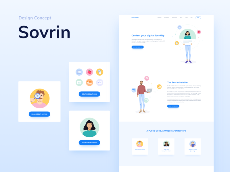 ✨Sovrin - Design Concept ✨ digital identity identity id woman man person people face cryptocurrency landing page ux technology ethworks ui crypto blockchain illustration page website design