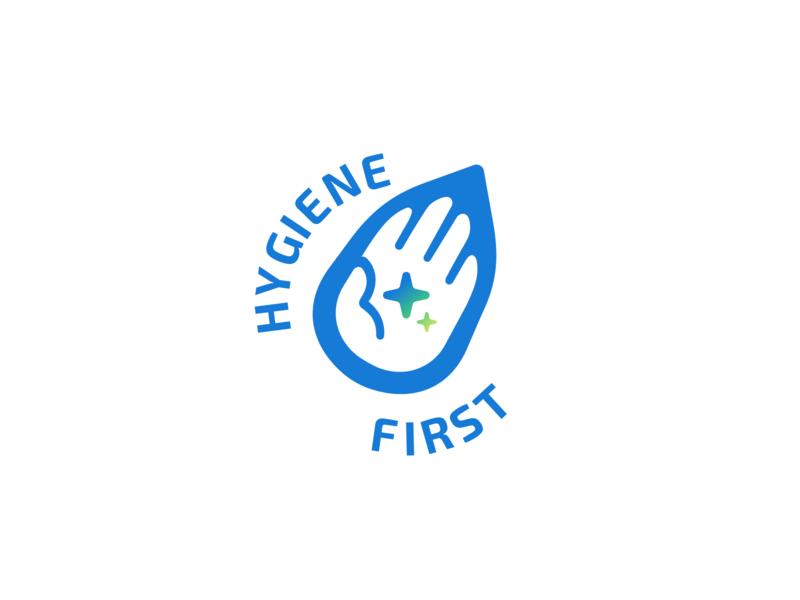 Hygiene First Logo green blue squeakyclean star drop soap clean water hand sanitizer logo design
