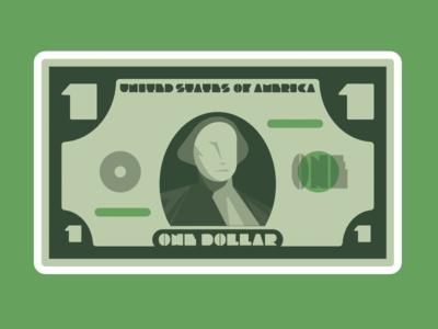 Ol'Bill illustration merica washington one bill green dollar