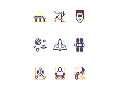 Exploration Icon Set space station flux capacitor time travel planets space trains icons