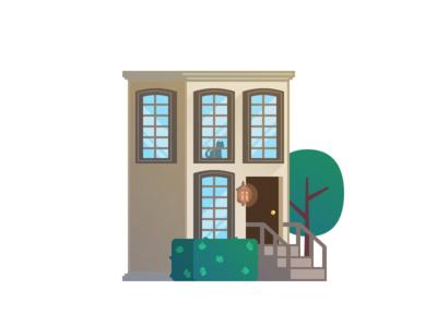 Townhouse illustration modern window lantern bush tree cat townhouse house town