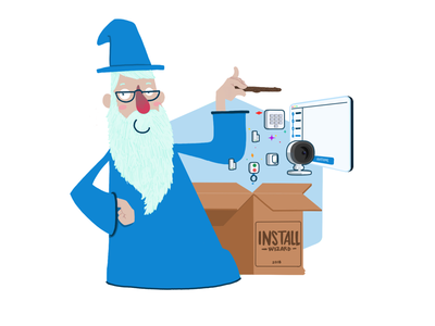 The installation wizard beard blue devices camera box magic wizard installation install wizard