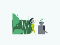 kospa.bio - Illustrations of a life-cycle illustration manufacturing nature sustainable leaf kospa branding