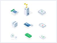Insurance icons money insurance set icons