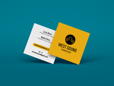 West Sound - Business Cards experience designer design card business sound west west sound management clean music minimal yellow brand logo business card