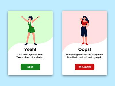 "Alert Messages ""Disconnect"" App sad happy woman people women person bad good success error message alert ok ko idea app relax"