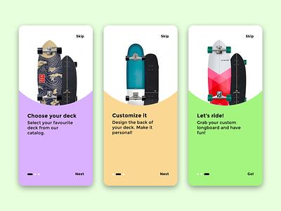 Skate shop app walkthrough design designer ui ux app minimal minimalism menu simple clean diseño diseño grafico graphic design skate longboard walkthrough start page control