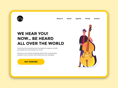 West Sound Landing Page musician yellow clean minimal design ui ux page landing landing page agency management music