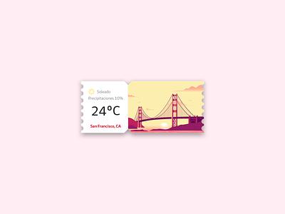 Weather widget card for San Francisco minimal vector sfo san francisco widget card app designer ui clean