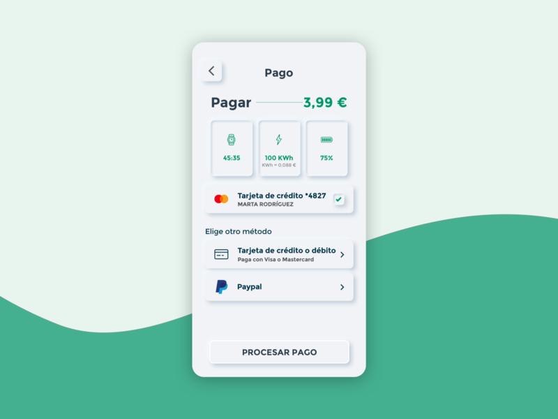Neumorphism payment screen