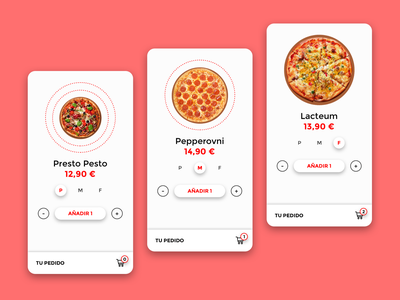 Pizza ordering app concept design app clean minimal order management pedir pedido cart fastfood food sizes ux ui ordering order pizza