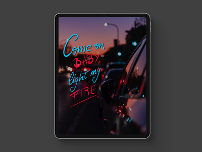 """""""Come on, baby, light my fire"""" Procreate Lettering design lettering fire procreate lettering art brush lettering photo ipad ipadproart typography"""