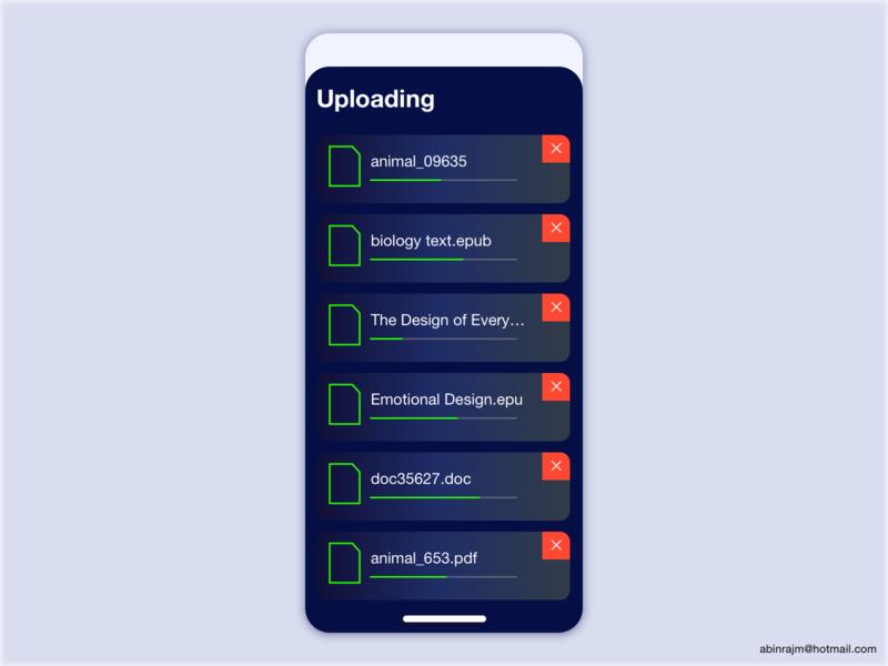 Uploading - Dark theme designspiration color theory ui mobile ux