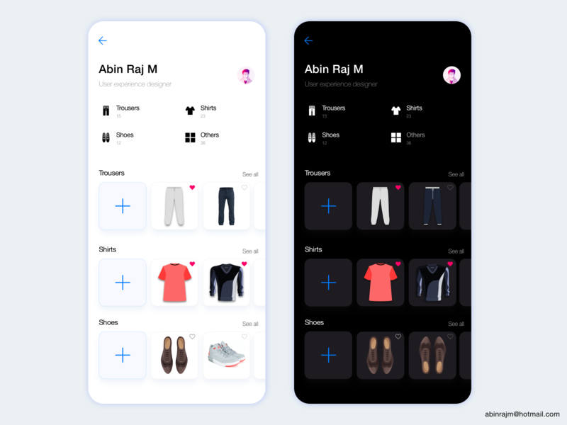 Daily Dress Management App Profile ixdmobile categories designspiration dashboard analytic ui color theory accessible mobile ux