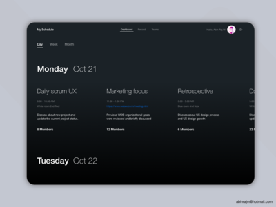 Minimal Timeline Management Tool concept Day Dark theme