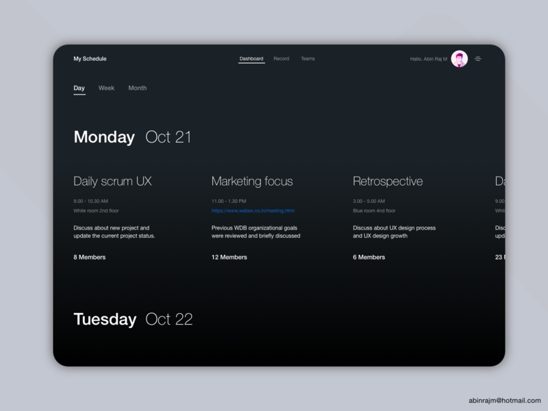 Minimal Timeline Management Tool concept Day Dark theme minimalist designspiration dashboard color theory accessible ux