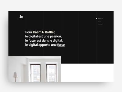 Kaam & Roffler - Digital Agency interface nav concept digital design desktop header landing invite ui agency