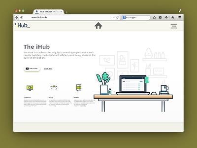 iHub Landing icons ui freebie ux material design icon illustration minimalist marketing inspiration concept branding web design landing page