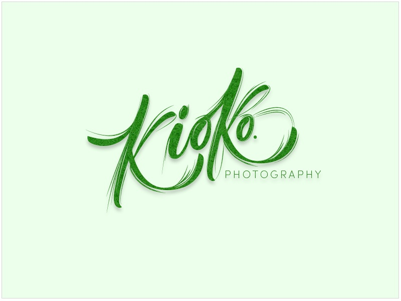 Kioko Photograpgy Logo handlettering design dailyui lettering branding photography logo calligraphy marketing icon script font green nature drawing freebie