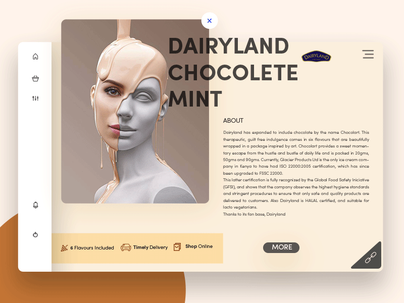 Dairyland Chocolate Mint freebie milk chocolate theme ui ux portfolio marketing identity dairy agriculture packaging minimal landing page