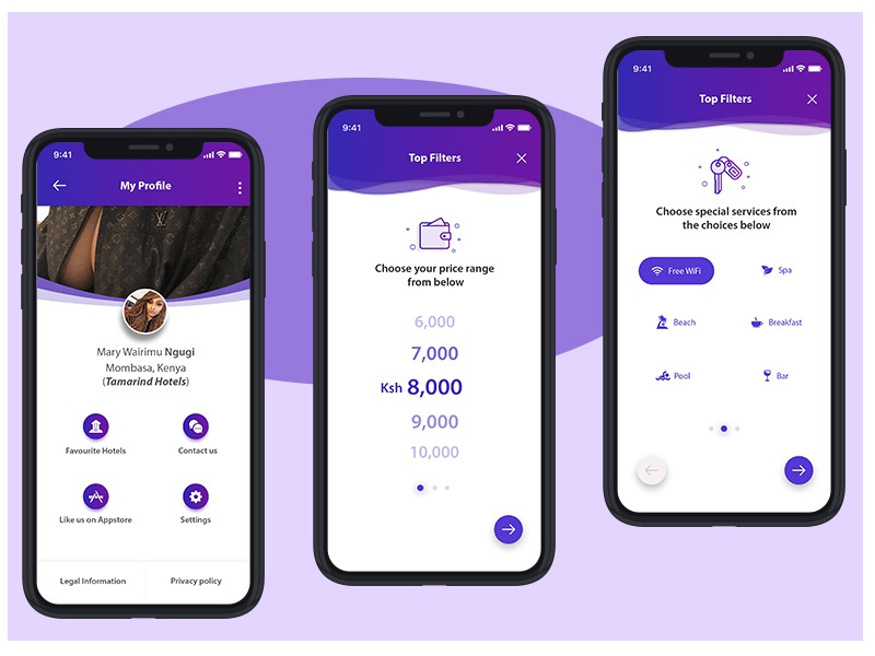 Tembeza hotel booking app hotel booking app android ios traveling beauty minimal design subtle gradients material design booking app profile identity marketing branding