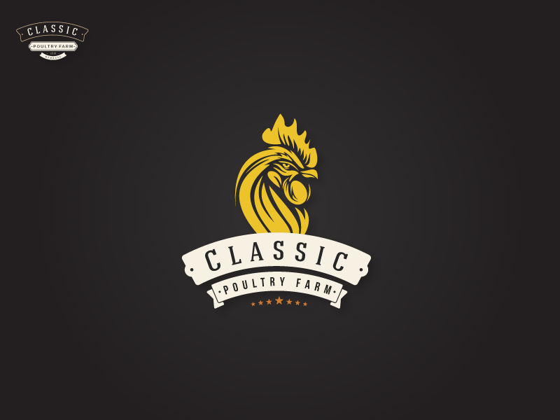 Classic Poultry Farm Logo branding marketing identity typography flat classic vintage minimal web farming chicken android ios poultry