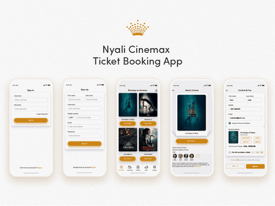Nyali Cinemax Ticket Booking App logo ui ux freebie branding profile identity booking app material design subtle gradients minimal design beauty traveling android ios hotel booking app marketing