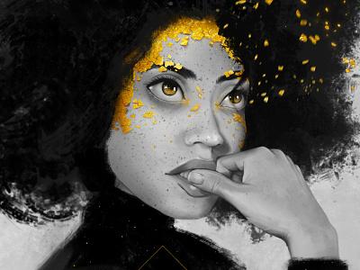 Golden Thoughts photoshop black  white portrait design branding vector illustration adobe illustrator graphic design
